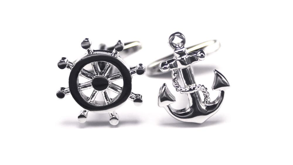 Boat Wheel Anchor Buttons Cufflinks